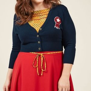 ModCloth | Cropped Cardigan With Ribbon Patch